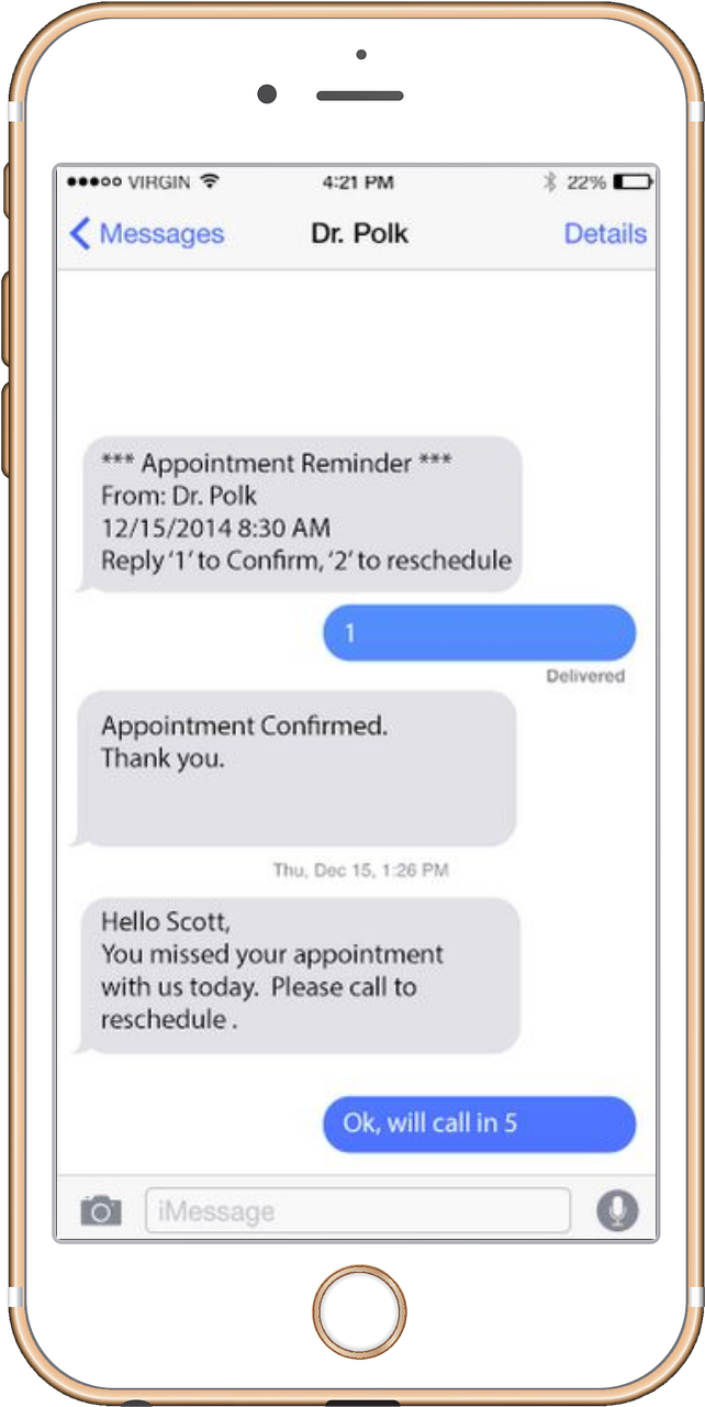 Phone Showing DoctorConnect.net Medical Appointment Reminders